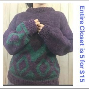 Vintage Purple Turquoise Blue Wool Ugly Sweater
